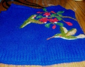 Blue Cashmere/Angora Purse with Hummers and Fuschia