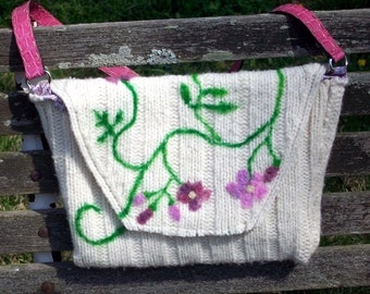 Felted Wool Purse in White with Roses