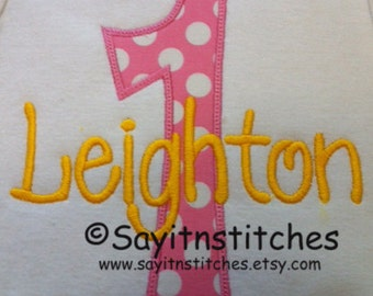 Personalized Birthday shirt or bodysuit, Number 1-9 available, 1st birthday shirt, party shirt