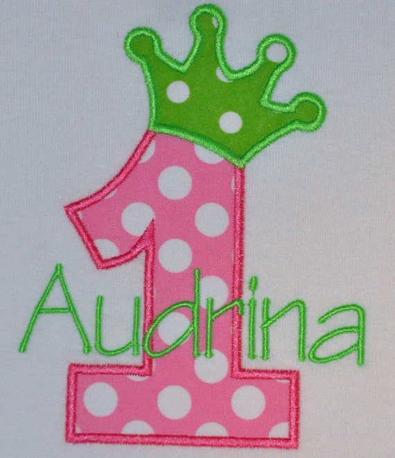Personalized Birthday number with crown onesie or tshirt