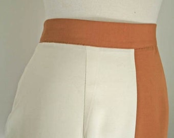 OP ART //  mod orange and white 1960s skirt XS / S