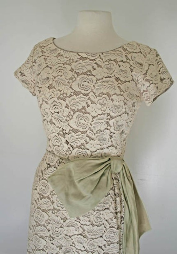 Lace Wiggle Dress 1950s with Sage Chiffon Sash