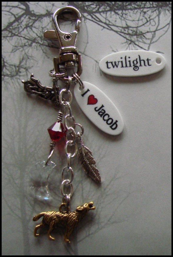 I heart Jacob Wolf Keychain Backpack or Purse clip