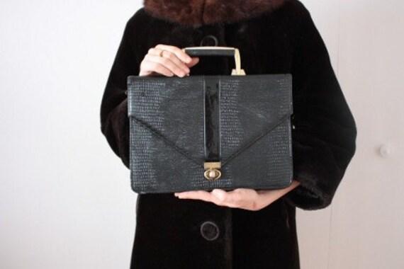 SALE Vintage 1970's The Travelling Madame Black Faux Croc BRIEFCASE