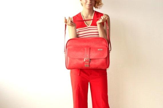 SALE Vintage 1970's SAMSONITE Bright Red Carry All Travel Bag