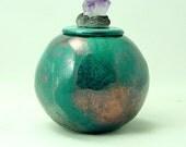 RAKU COIL POTTERY with Amethyst Crystal Handmade Pottery