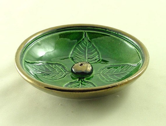 Bodhi Leaf Incense Burner Handmade Ceramic Pottery
