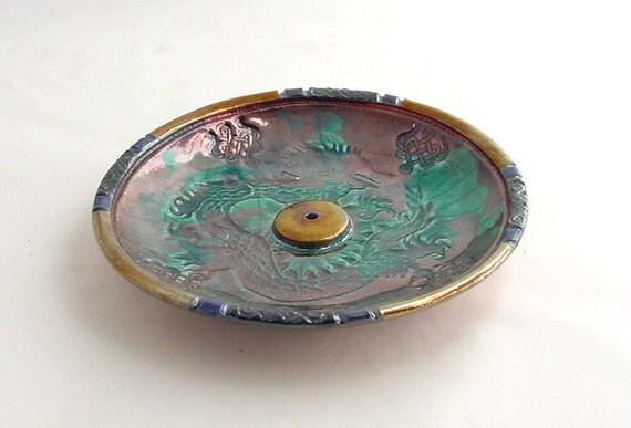Imperial Dragon Incense Burner  Handmade Raku Pottery