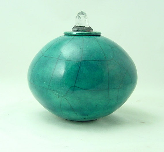 Raku Pottery in Teal Handmade Ceramic Pottery