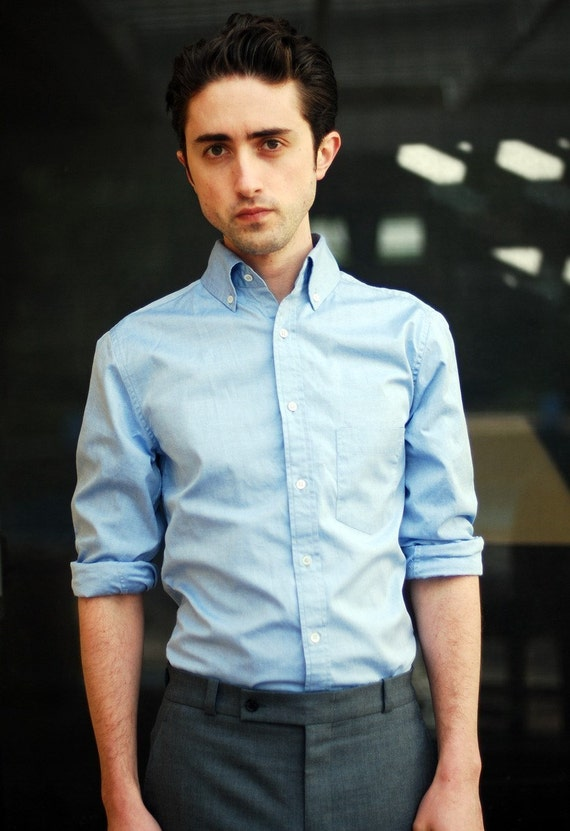 ON SALE - Men's Shirt - Light Blue Pinpoint Oxford STYLE No. BKT10 (M)