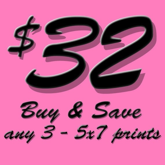 Set of 3 - 5x7 prints - your choice