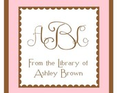 Personalized Pink and Brown Address Labels, Bookplates, Gift Labels - Set of 24