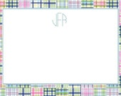 Blue Madras Patch Personalized Notecard or Invitation Set