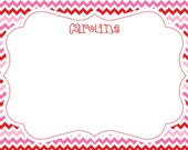 Pink and Red Chevron Notecard, Stationery or Invitation - RED, PINK & WHITE - Set of 10