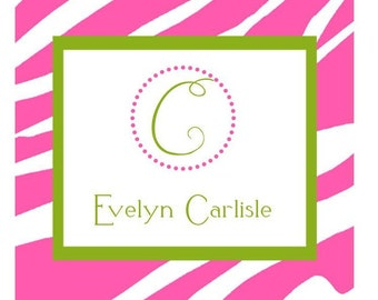 Pink and Green Preppy Zebra Label, Enclosure Card, Sticker, Book Plate, Address Label Set