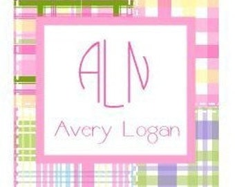 Preppy Pink Plaid Sticker, Gift Tag, Enclosure Card or Address Label - Set of 24