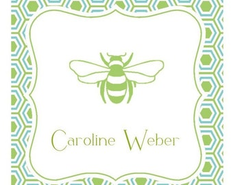 Green Bumble Bee Label, Enclosure Card, Sticker, Book Plate, Address Label Set