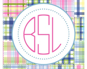 Preppy Madras Sticker, Gift Tag, Enclosure Card or Address Label - Set of 24