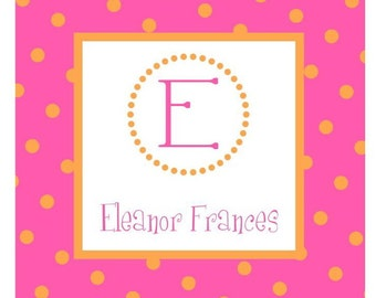 Hot Pink & Orange Polka Dots Sticker, Gift Enclosure, Book Plate or Address Label - Set of 24
