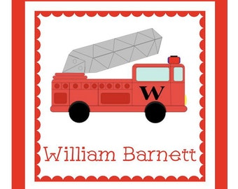 Fire Truck Sticker, Enclosure Card, Book Plate or Return Address Label Set - 24