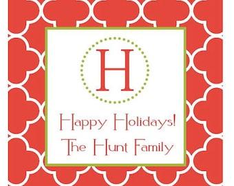 Preppy Christmas Holiday Sticker, Gift Enclosure Card, Address Label - RED QUATREFOIL - Set of 24