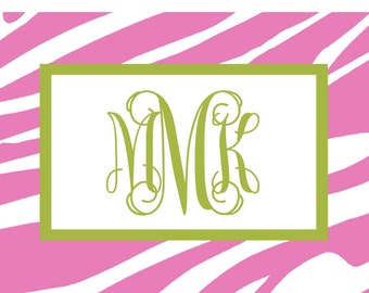 Pink and Green Zebra Folded Notes - Set of 10