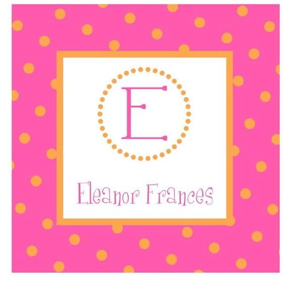 Hot Pink & Orange Polka Dots Sticker, Gift Enclosure, Book Plate or Address Label - Set of 24