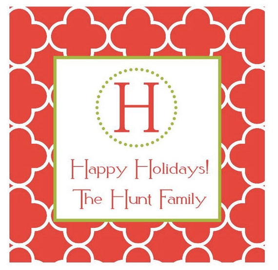 Preppy Christmas Holiday Sticker, Gift Enclosure Card, Address Label - RED QUATREFOIL - Set of 24