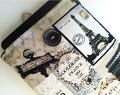 Kindle Case Sleeve for Kindle Fire Nexus 7 or other eReader  - Vintage Paris - bertiescloset