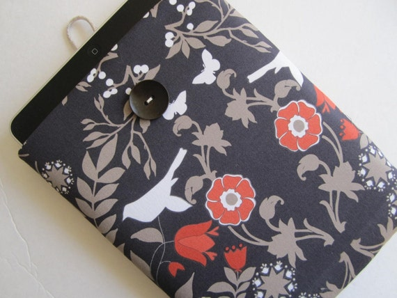 iPad Sleeve Case iPad Cover, Padded Handmade Case, Button Closure - Impressions