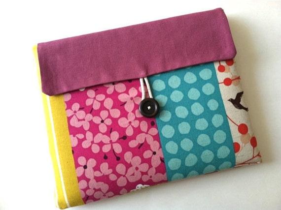 Pink iPad Case, iPad Cover, iPad Sleeve Padded Bag Clutch Flap Closure