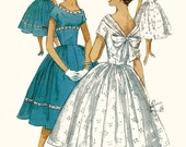 Late 1950s Simplicity Sewing Pattern -- Perfect Party Frock with Sweet Back Bow, Little Waist, Big Flouncy Skirt
