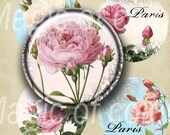 Old Garden Roses - 63  1 Inch Circle JPG images - Digital  Collage Sheet