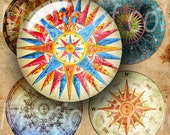 Compass Rose   - 63  1 Inch Circle JPG images - Digital  Collage Sheet