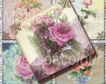 Vintage Roses in the Sky - 20  2x2 Inch Square JPG images - Digital  Collage Sheet