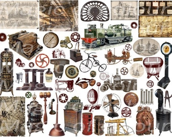 Digital Collage of Steampunk Illustration  - 50   JPG images - Digital  Collage Sheet