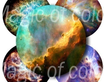 Space Photos - 80  1x1 Inch Circles JPG images - Digital  Collage Sheet