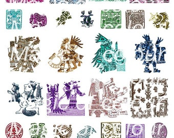 Ancient Mexican Designs - 37  1x1, 2x1 or 2x2 Inch  JPG images - Digital  Collage Sheet