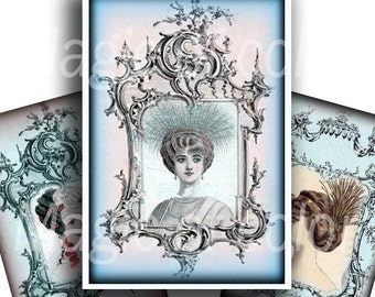 Victorian Hairstyles - 42  1x1 1/5 Inch  JPG images - Digital  Collage Sheet
