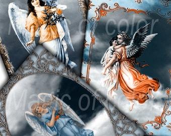 Vintage Angels - 8 Digital ACEO Images - Printable Digital Collage Sheet