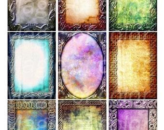 Grunge Celtic Texture N1 - 9 Digital ACEO Images - Printable Digital Collage Sheet