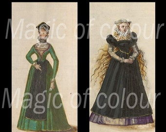 Medieval Images of Clothes for Women - 35  1x2 Inch  JPG images - Digital  Collage Sheet