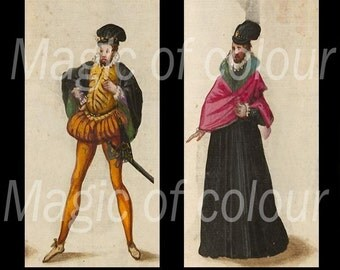 Medieval Images of Clothes for Men - 35  1x2 Inch  JPG images - Digital  Collage Sheet