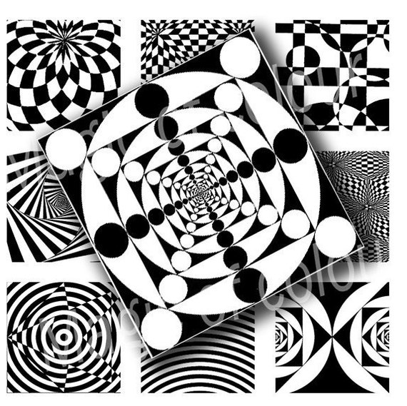 Digital Collage of Black and White  Patterns  - 63  1x1  Inch Square JPG images - Digital  Collage Sheet