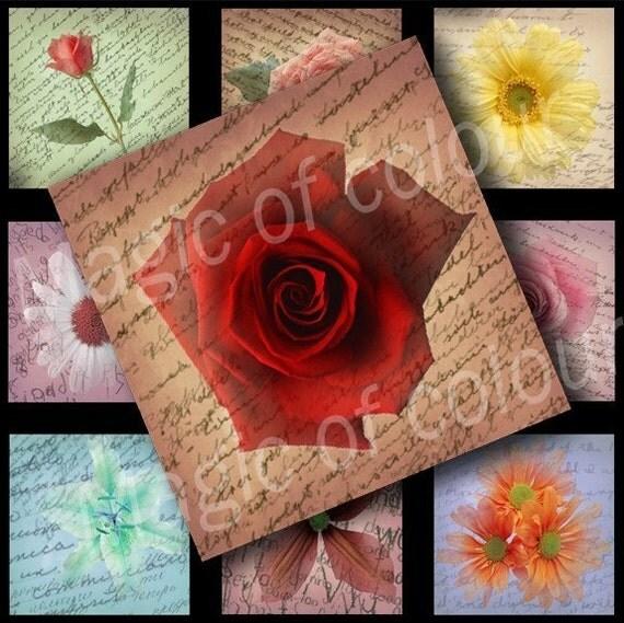 Digital Collage of  Original Flower Illustration - 63  1x1 Inch Square  JPG images - Digital  Collage Sheet