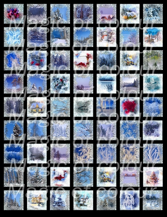 The Frozen Windows - 63  1x1 Inch Square JPG images - Digital  Collage Sheet