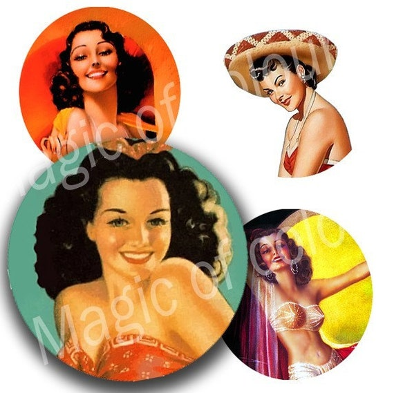 Digital Collage of  Pin Up Girl Illustration  - 63  1x1 Inch Circles JPG images - Digital  Collage Sheet