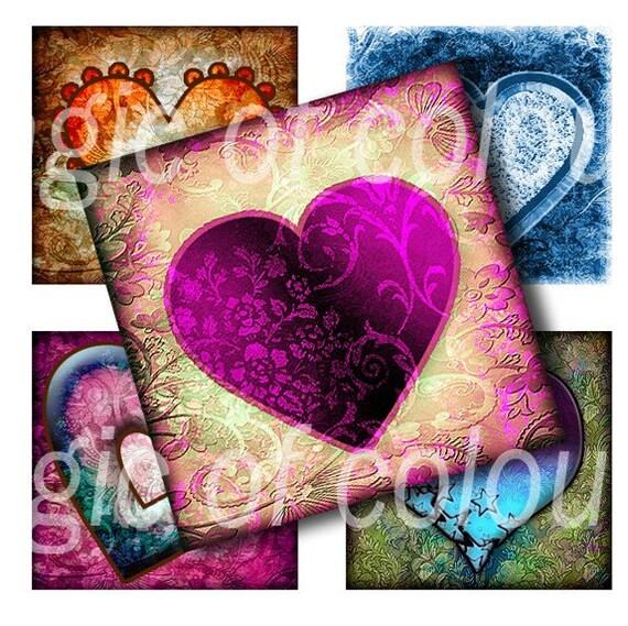 Digital Collage of  Original Graceful Heart  Illustration - 63  1x1 Inch Square  JPG images - Digital  Collage Sheet
