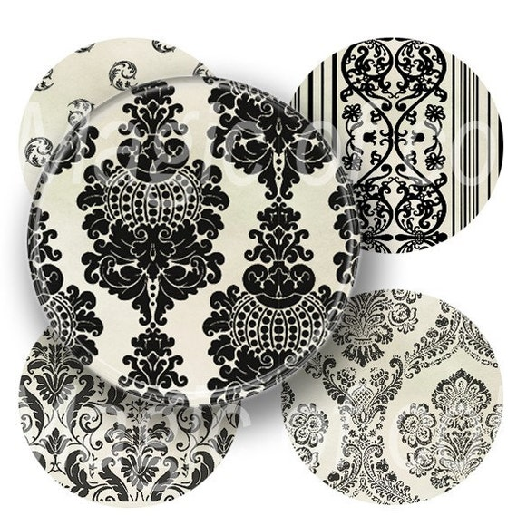 Digital Collage of   Creamy White and Black Damask Illustration - 63  1x1 Inch Circle  JPG images - Digital  Collage Sheet