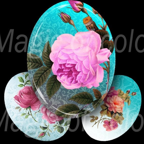 Digital Collage of  Shabby Chik Roses - 25  30x40 mm Oval  JPG images - Digital  Collage Sheet
